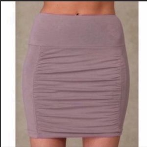 Free People Lavender Gray Ruched Mini Skirt